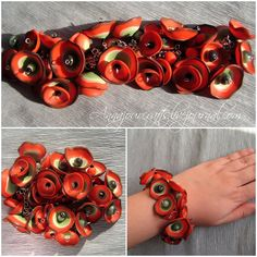 https://flic.kr/p/9A5XE8 | Red poppies bracelet | polymer clay beads