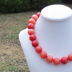 Mira  Extra Chunky Red 22mm Round Jade Gemstone Beaded by Tessyla, $165.00