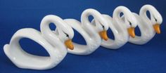 Napkin Ring Set Goose Swan 4 White Hand Painted Ceramic Figural Geese – Antiques And Teacups
