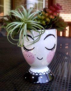 Taza cerámica florero de cara, portalápices, plantador de la cabeza, organizador, cabeza florero, florero de cabeza cerámica plantador de la cabeza, organizador de oficina, regalo de oficina