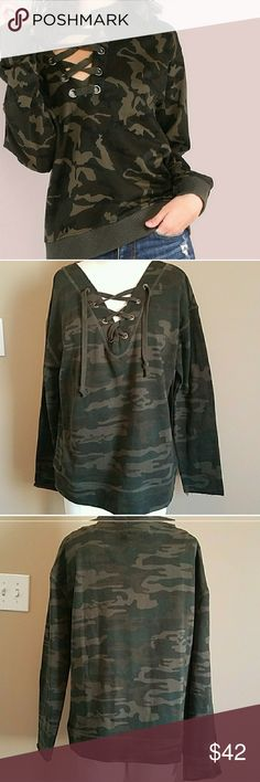 NEW Sanctuary Camo Top NEW Lace Up camo top. Tags attached. Never worn. French terry material. So so comfortable! Sanctuary Tops Sweatshirts & Hoodies