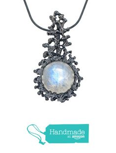 Black Oxidiezed Sterling Silver, Large 12mm Natural Rainbow Moonstone Gemstone, Coral Reef Organic Statement Pendant Necklace from Arosha https://www.amazon.com/dp/B01FQOW23M/ref=hnd_sw_r_pi_dp_RAMEyb5KSHB3K #handmadeatamazon