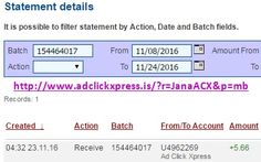 Here is my #66 Withdrawal Proof from Ad Click Xpress. I get paid daily and I can withdraw daily. Online income is possible with ACX, who is definitely paying - no scam here. I WORK FROM HOME less than 10 minutes and I manage to cover my LOW SALARY INCOME. If you are a PASSIVE INCOME SEEKER, then AdClickXpress (Ad Click Xpress) is the best ONLINE OPPORTUNITY for you. Join for FREE and get 20$ + 10$ + 5$ Monsoon, Ad and Media value packs from ACX.