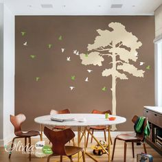 Large Pine Tree vinyl home wall decal, Birds mural,  Removable wall sticker - NT024