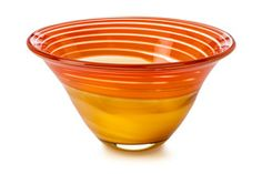 """Waterford 146449 Evolution Red & Amber Swirl 8"""" Bowl"""