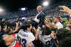 Manager Zinedine Zidane led Real Madrid to their first league title since 2012 Real Madrid Coach, Real Madrid Win, Real Madrid Football, Real Madrid Players, Football Soccer, Zinedine Zidane, Ballon D'or, Steven Gerrard, Australian Football