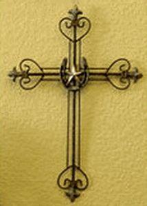 Elegant Metal Cross with Horseshoe and Star $19.95