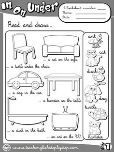 Place Prepositions - Worksheet 3 (B&W version) English Teaching Resources, English Activities, Education English, English Class, Learn English, English English, English Prepositions, English Vocabulary, Kindergarten Worksheets