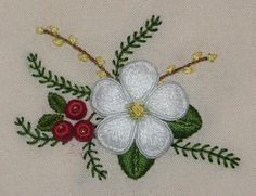 Flower, stumpwork embroidery by flossbox, via Flickr