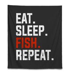 FISHING EAT SLEEP FISH REPEAT Fishing Shop, Best Fishing, Kayak Fishing, Fishing Tackle, Fishing Apparel, Fishing Shirts, Fishing Videos, Fishing Outfits, Fish Design