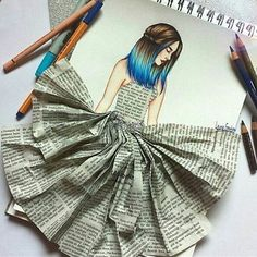 Super Creative Newspaper Dress! Follow us! @just_arts_help ✨ . By @lets_dream_to_draw