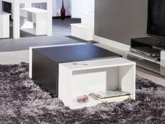 CHARLY Table basse modulable noir et blanc