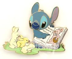 Stitch with bunnies and Easter book pin