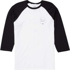 Billabong Unisex Around Long Sleeve Tee ($27) ❤ liked on Polyvore featuring tops, t-shirts, t-shirt/prints, long sleeve graphic t shirts, white graphic tees, raglan tee, long sleeve graphic tees and long sleeve crew neck tee