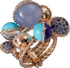 Bague Paris Nouvelle vague Or rose, calcédoine, turquoise, lapis lazuli, pierre de lune, aigue marine, saphirs, diamants