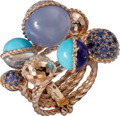 Paris Nouvelle Vague ring Pink gold, chalcedony, turquoise, lapis lazuli, moonstone, aquamarine, sapphires, diamonds