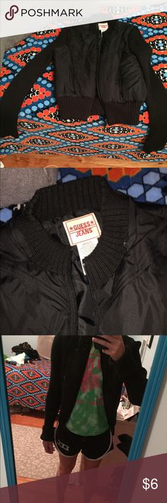 Guess fall jacket Two types of materials. The arms are kind long because they are supposed to be rolled up. Nothing wrong with it Guess Jackets & Coats