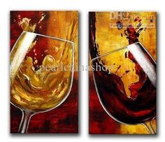 Wholesale Oil Painting - Buy 100% Hand Draw Abstract Modern Oil Painting on Canvas WINE GLASSES Free Shipping, $30.43 | DHgate