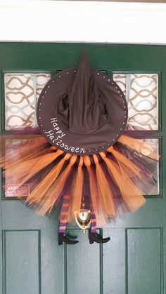 Halloween tulle wreath. Check out my collection of adorable tulle wreaths for all occasions! Each one is hand made and therefore slightly different and individually yours. I can customize colors, theme, last name, initials, etc.