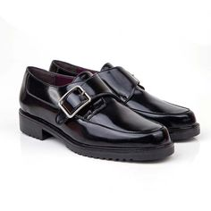 Beyond Skin Monk black flat vegan monkstrap loafer shoe made from black faux patent with synthetic faux leather lining 100% Vegan, vegetarian and cruelty-free.