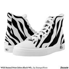 Wild Animal Print Zebra Black White Stripe Printed Shoes
