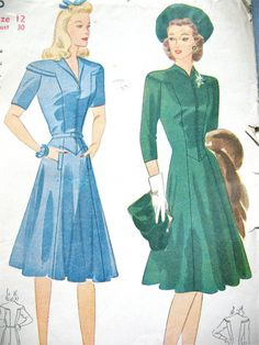 1940s Simplicity 4106 Misses and Womens Dress Vintage Sewing Pattern Misses and Womens Dress. The rounded shoulder yokes and bodice front are cut in