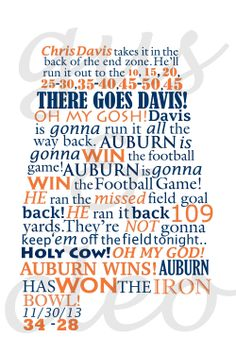 Auburn Wins the Iron Bowl Radio Call 11 x 17 by GusAndCleo on Etsy.greatest college football moment EVER! Sec Football, Auburn Football, Auburn Tigers, Football Season, College Football, Clemson, Auburn Vs, Auburn Game, Football Baby