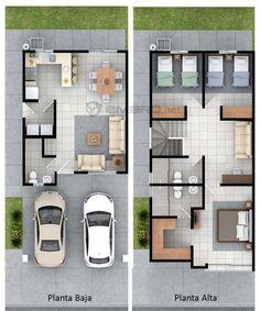 plano de casa en 3d render Small House Layout, House Layout Plans, Duplex House Plans, Small House Design, Dream House Plans, Small House Plans, House Layouts, Modern House Design, House Floor Plans
