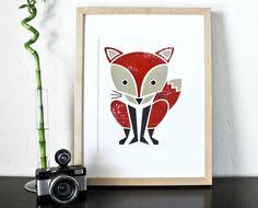 Red Fox Screenprint by sassandperil via @Etsy!