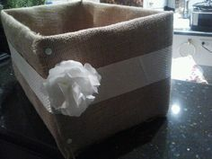 Diaper box turned cute! Burlap & Ribbon covered diaper box!