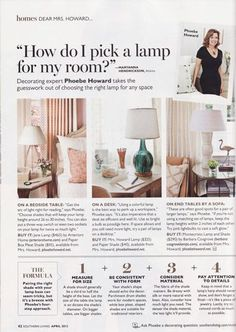 """How do I pick a lamp for my room?"" by Phoebe Howard #decorating #tips"