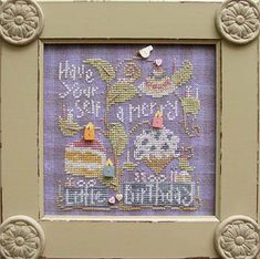 Samsarah Designs Studio Merry Little Birthday - Cross Stitch Pattern. Have yourself a merry little birthday. Model stitched on 30 count Peoria Purple Gingham li