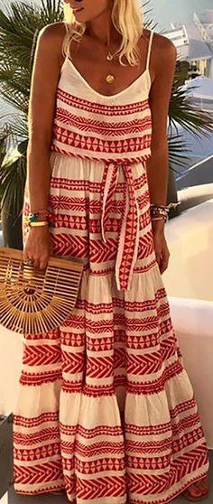 Bohemian print spaghetti straps with belt maxi dress - TD Mercado Maxi Outfits, Boho Outfits, Maxi Dresses, Bohemian Dresses, Maxi Skirts, Summer Outfits, Fall Collection, Long Slip Dress, Bohemian Print