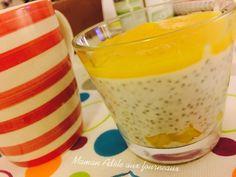 Crème de Coco à la Mangue et Graine de Chia | Maman Adèle aux fourneaux Adele, Pudding, Desserts, Food, Coconut Cream, Chia Seeds, Mango, Mom, Food Porn
