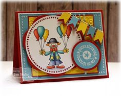 Circus Birthday by Jen Shults Circus Birthday, Circus Theme, Circus City, Boy Cards, Kids Cards, Marker Paper, Handmade Birthday Cards, Handmade Cards, Scrapbook Cards