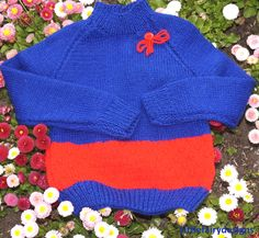 2 Colour Baby Unisex Sweater blue/red Age: 6-18 months