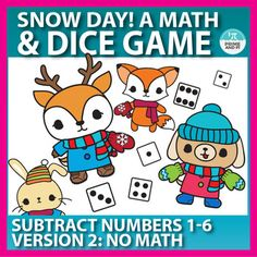 Review or practice subtraction with this fun winter themed dice game. The animals are excited to go outside and play but first, they must put on their winter wear. By rolling 2 dice and using subtraction skills (1 through 6), players dress their animals in mittens, scarves, hats, etc.