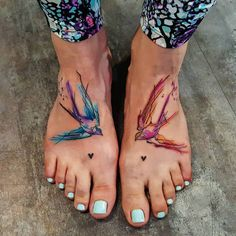 Sketchy style matching swallow tattoos on both foot. Tattoo artist: Simona Blanar