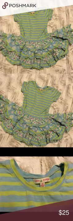 Mimi and Maggie green blue floral stripe dress Beautiful and fun dress! In good used condition. Mimi & Maggie Dresses