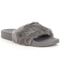 Light Grey:Steve Madden Softey Faux Fur Slide Sandals