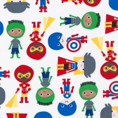 Ann Kelle - Super Kids - Super Heroes in Primary fabric. Little pillows would be so cute in this!