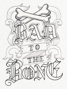 bad to the bone embroidery - Google Search