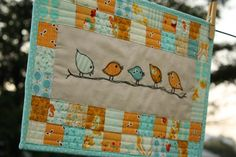 quilted bird wallhanging