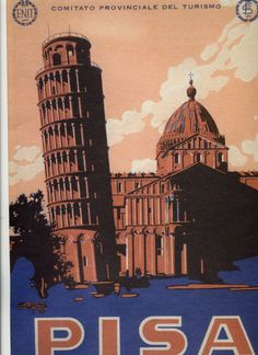Vintage Travel Poster Pisa Italy 1934 by wifecruella on Etsy, $6.00