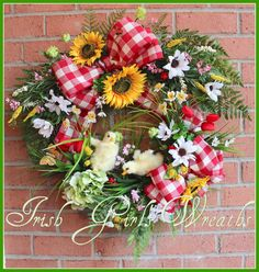 Baby Ducklings on the Farm Spring Wreath, Sunflower & Daisy Red Gingham Country Summer Wreath, butterfly, ladybug, tulip by IrishGirlsWreaths on Etsy
