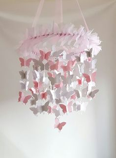 Pink Gray White butterfltly mobile butterfly baby mobile butterfly baby mobile butterfly nursery Shimmer by MagicalWhimsyDesigns