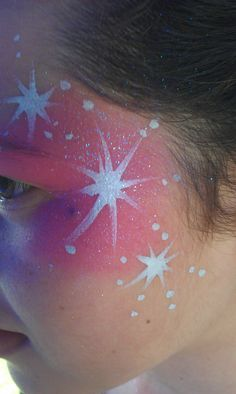 Pink stars design face paint