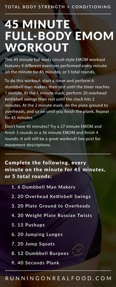 45 Minute EMOM Conditioning Workout for the Gym from Running on Real Food...