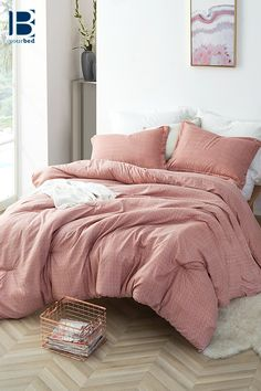 Roost – Twin XL Comforter – Supersoft Microfiber Bedding - Home decor cozy Bed Decor, Pink Comforter, Microfiber Bedding, Bed Comforters, Home, Bedroom Makeover, Bed, Light Pink Comforter, Luxury Bedding