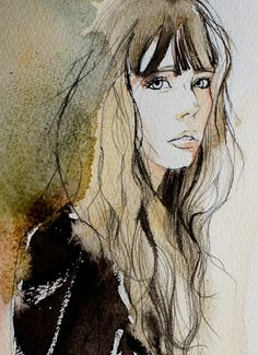 Find images and videos about illustration on We Heart It - the app to get lost in what you love. Watercolor Portraits, Watercolor Paintings, Portrait Illustration, Wedding Illustration, Illustrations, Portrait Art, Face Art, Painting Inspiration, Art Images